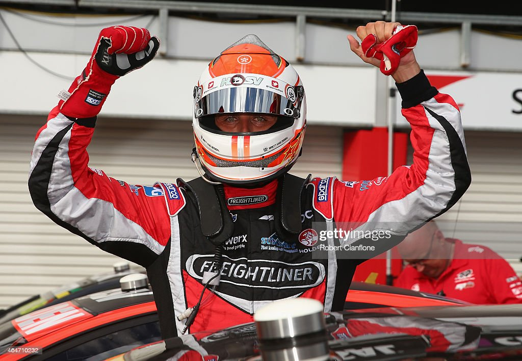 Fabian Coulthard driver of #14 the Freightliner Racing Holden celebrates after winning race two for the V8 Supercars Clipsal 500 at the Adelaide Street Circuit on February 28, 2015 in Adelaide, Australia.