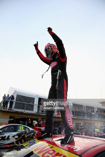 Fabian Coulthard driver of the Lockwood Racing Holden celebrates after winning race five of round two of the V8 Supercar Championship Series at...