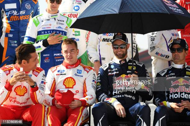 Fabian Coulthard driver of the Shell VPower Racing Team Ford Falcon FGX Scott McLaughlin driver of the Shell VPower Racing Team Ford Mustang Shane...