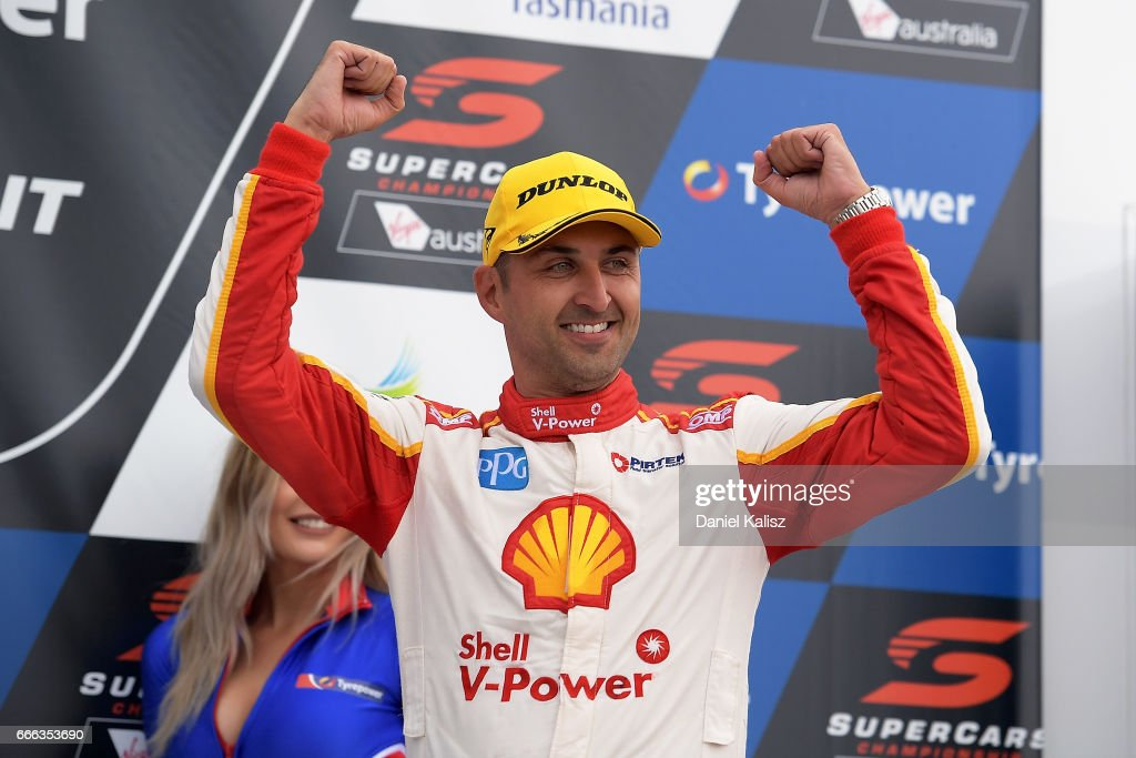 Fabian Coulthard driver of the #12 Shell V-Power Racing Team Ford Falcon FGX celebrates after winning race 4 for the Tasmania SuperSprint, which is part of the Supercars Championship at Symmons Plains Raceway on April 8, 2017 in Launceston, Australia.