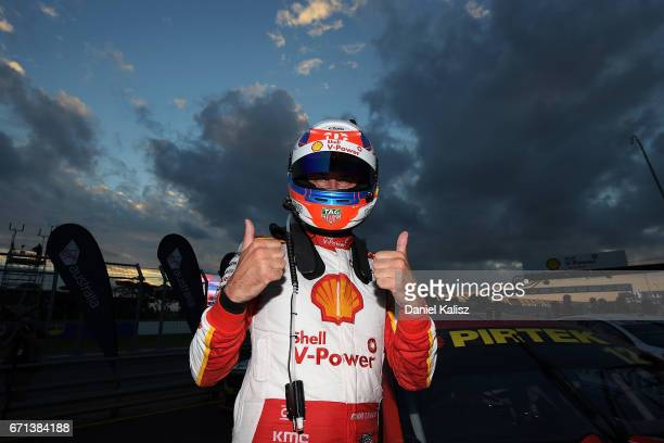 Fabian Coulthard driver of the Shell VPower Racing Team Ford Falcon FGX celebrates after winning race 5 for the Phillip Island 500 which is part of...