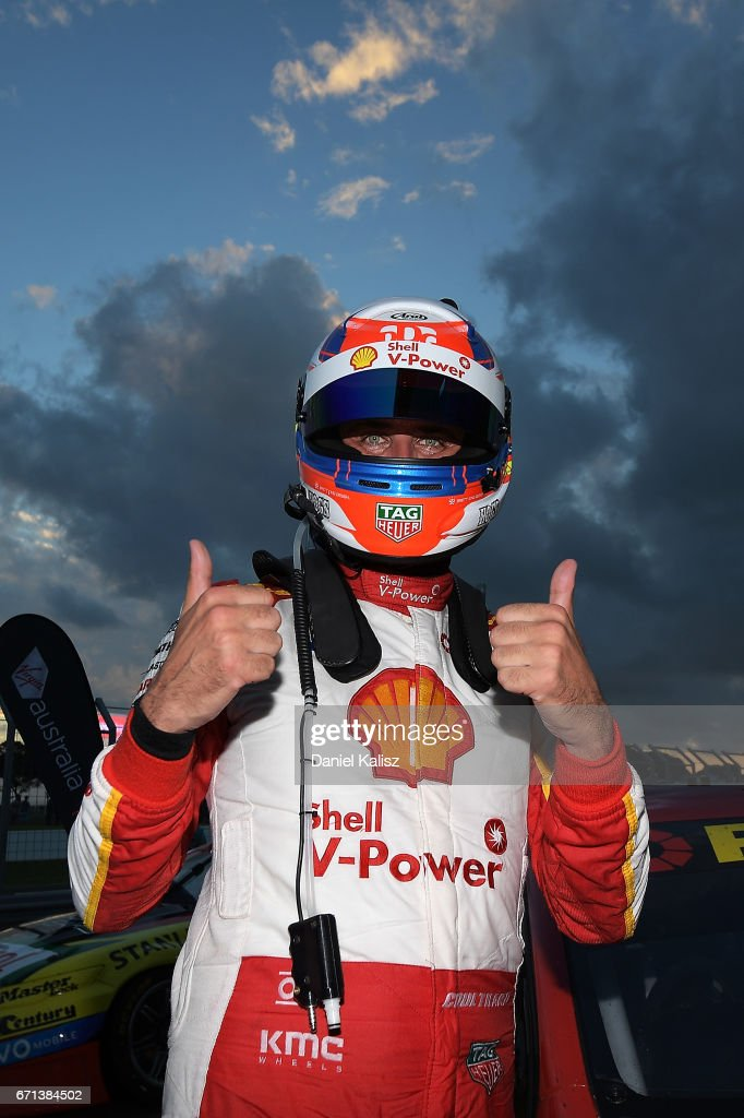 Fabian Coulthard driver of the #12 Shell V-Power Racing Team Ford Falcon FGX celebrates after winning race 5 for the Phillip Island 500, which is part of the Supercars Championship at Phillip Island Grand Prix Circuit on April 22, 2017 in Phillip Island, Australia.