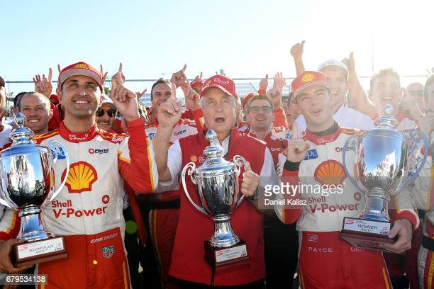 Fabian Coulthard driver of the Shell VPower Racing Team Ford Falcon FGX Roger Penske team owner of DJR Team Penske and Scott McLaughlin driver of the...