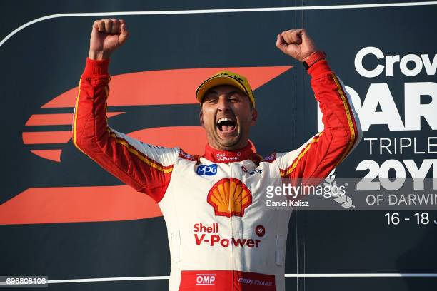 Fabian Coulthard driver of the Shell VPower Racing Team Ford Falcon FGX celebrates after winning race 11 for the Darwin Triple Crown which is part of...
