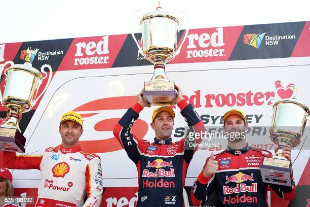 Fabian Coulthard driver of the Shell VPower Racing Team Ford Falcon FGX Jamie Whincup driver of the Red Bull Holden Racing Team Holden Commodore VF...
