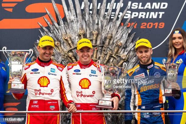 Fabian Coulthard driver of the Shell VPower Racing Team Ford Mustang Scott McLaughlin driver of the Shell VPower Racing Team Ford Mustang and Andre...
