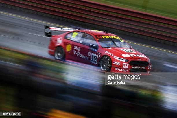 Fabian Coulthard drives the Shell VPower Racing Team Ford Falcon FGX during practice for the Supercars Sandown 500 at Sandown International Motor...