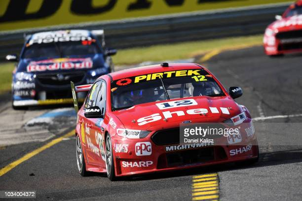 Fabian Coulthard drives the Shell VPower Racing Team Ford Falcon FGX during race 24 for the Supercars Sandown 500 at Sandown International Motor...