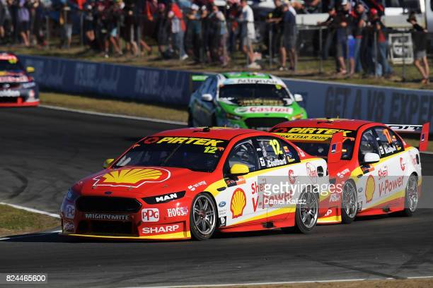 Fabian Coulthard drives the Shell VPower Racing Team Ford Falcon FGX leads Scott McLaughlin drives the Shell VPower Racing Team Ford Falcon FGX...