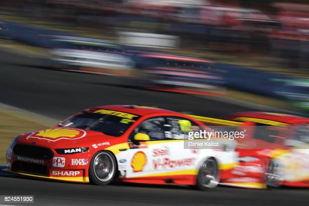 Fabian Coulthard drives the Shell VPower Racing Team Ford Falcon FGX during race 16 for the Ipswich SuperSprint which is part of the Supercars...