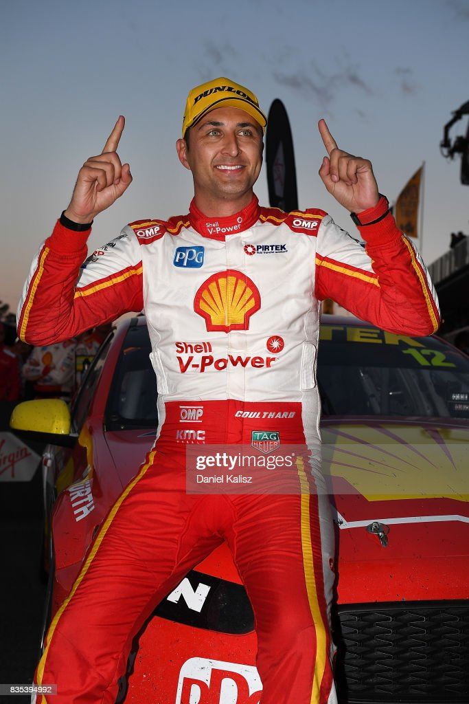 Fabian Coulthard drives the #12 Shell V-Power Racing Team Ford Falcon FGX celebrates after winning race 17 for the Sydney SuperSprint, which is part of the Supercars Championship at Sydney Motorsport Park on August 19, 2017 in Sydney, Australia.