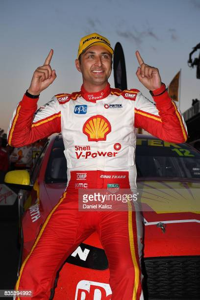 Fabian Coulthard drives the Shell VPower Racing Team Ford Falcon FGX celebrates after winning race 17 for the Sydney SuperSprint which is part of the...