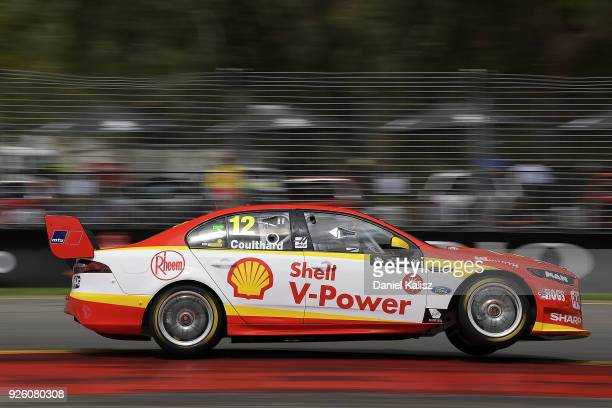 Fabian Coulthard drives the Shell VPower Racing Team Ford Falcon FGX during qualifying for Supercars Adelaide 500 on March 2 2018 in Adelaide...