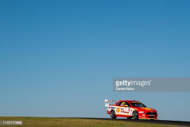 Fabian Coulthard drives the Shell V-Power Racing Team Ford Mustang during the Phillip Island 500 as part of the Supercars Championship season at...