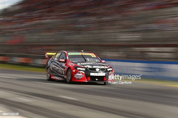 Fabian Coulthard drives the the Freightliner Racing Holden during race two for the V8 Supercars Clipsal 500 at the Adelaide Street Circuit on...