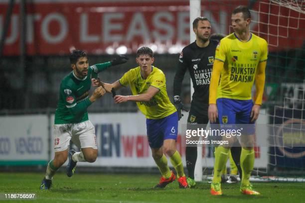 Fabian de Abreu of FC Dordrecht, Mees Hoedemakers of SC Cambuur, Sonny Stevens of SC Cambuur during the Dutch Keuken Kampioen Divisie match between...