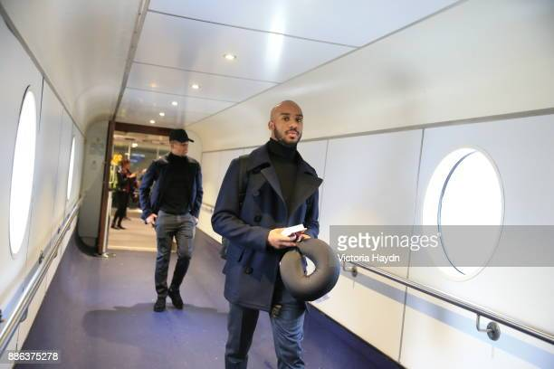 Fabian Delph boards the flight to Kharkiv to face Shakhtar Donetsk in the Champions League on December 4 2017 in Manchester England