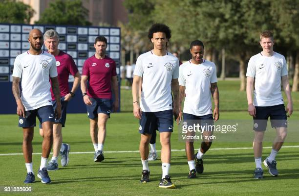 Fabian Delph Leroy Sane Raheem Sterling and Kevin De Bruyne of Manchester City during the Abu Dhabi Warm Weather Training Camp on March 13 2018 in...