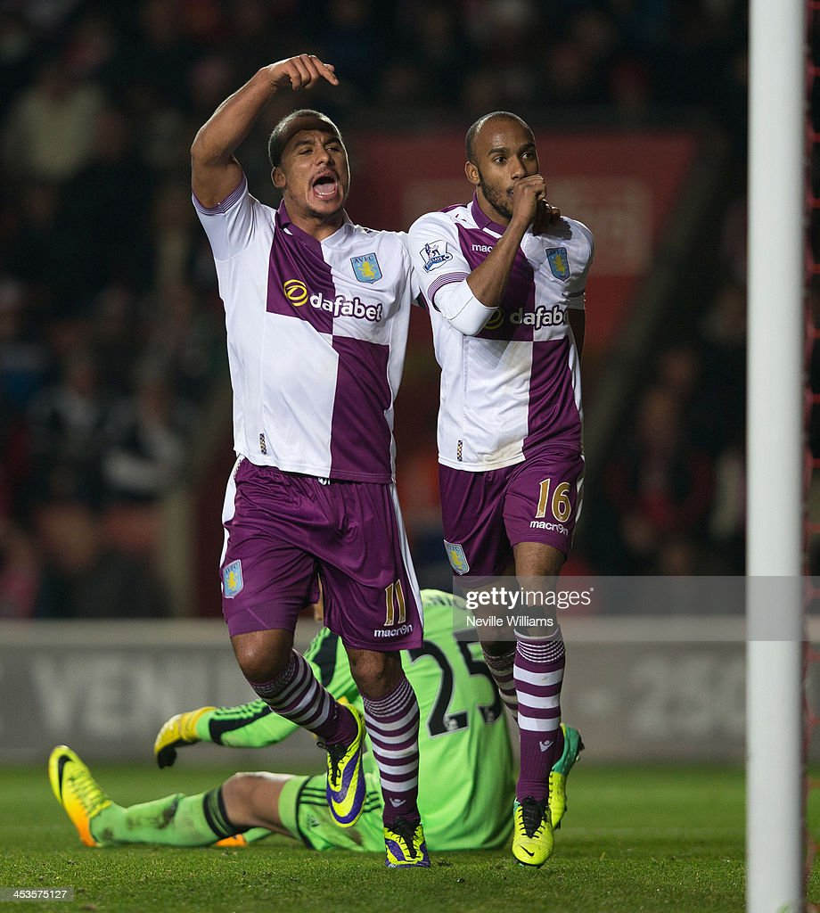 Fabian Delph of Aston Villa celebrates his goal for Aston Villa during the Barclays Premier League match between Southampton and Aston Villa at St Mary's Stadium on December 04, 2013 in Southampton, England.