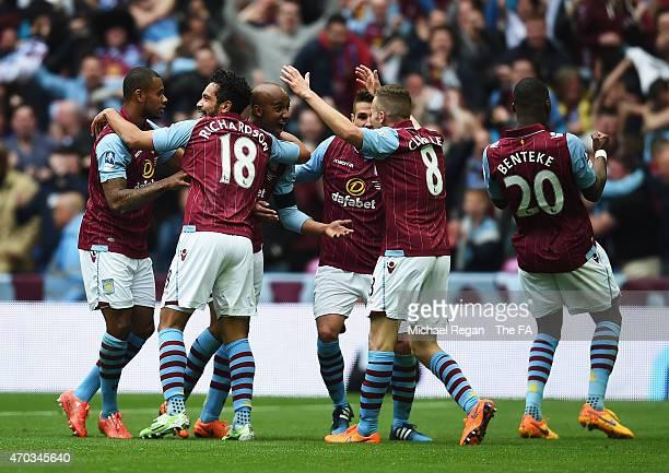 Fabian Delph of Aston Villa celebrates scoring Aston Villa's 2nd goal during the FA Cup Semi-Final match between Aston Villa and Liverpool at Wembley...