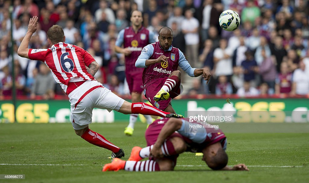 Fabian Delph of Aston Villa during the Barclays Premier League match between Stoke City and Aston Villa at the Britannia Stadium on August 16, 2014 in Stoke on Trent, England.