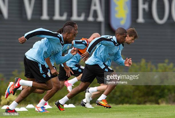 Fabian Delph of Aston Villa in action during a Aston Villa training session at the club's training ground at Bodymoor Heath on August 24 2012 in...