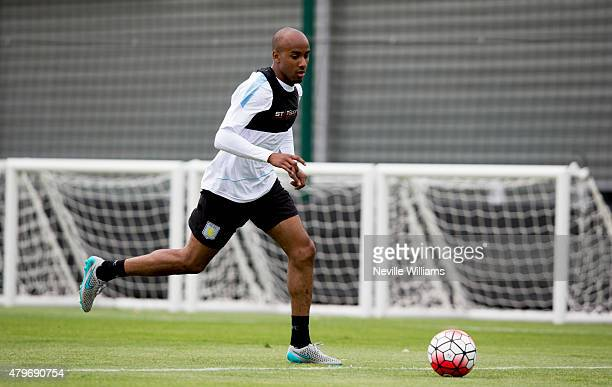 Fabian Delph of Aston Villa in action during a Aston Villa training session at the club's training ground at Bodymoor Heath on July 06 2015 in...