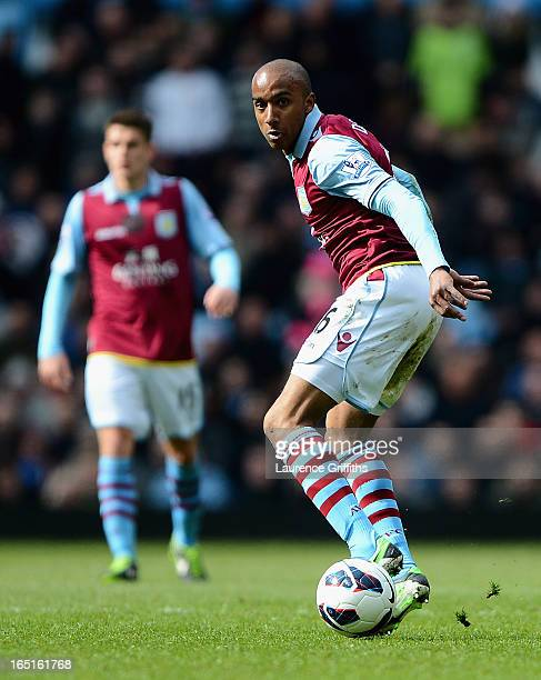 Fabian Delph of Aston Villa in action during the Barclays Premier League match between Aston Villa and Liverpool at Villa Park on March 31 2013 in...