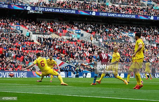 Fabian Delph of Aston Villa scores Aston Villa's 2nd goal during the FA Cup Semi-Final match between Aston Villa and Liverpool at Wembley Stadium on...