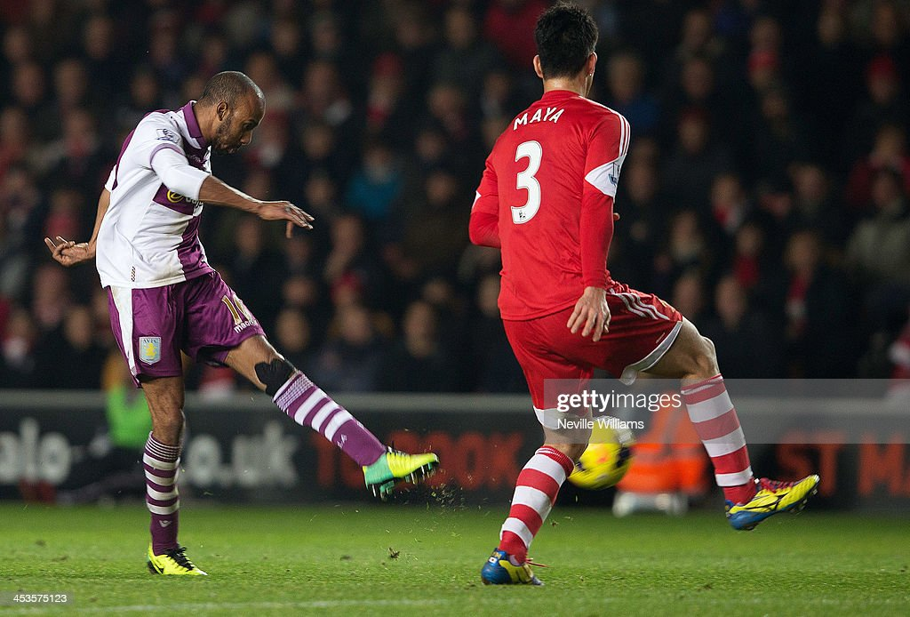 Fabian Delph of Aston Villa scores his goal for Aston Villa during the Barclays Premier League match between Southampton and Aston Villa at St Mary's Stadium on December 04, 2013 in Southampton, England.
