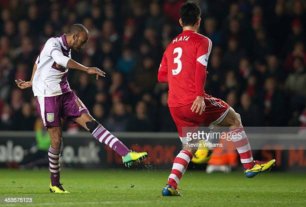 Fabian Delph of Aston Villa scores his goal for Aston Villa during the Barclays Premier League match between Southampton and Aston Villa at St Mary's...