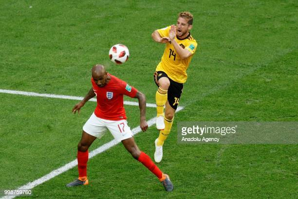 Fabian Delph of England and Dries Mertens of Belgium vie for the ball during the 2018 FIFA World Cup 3rd place match between Belgium and England at...