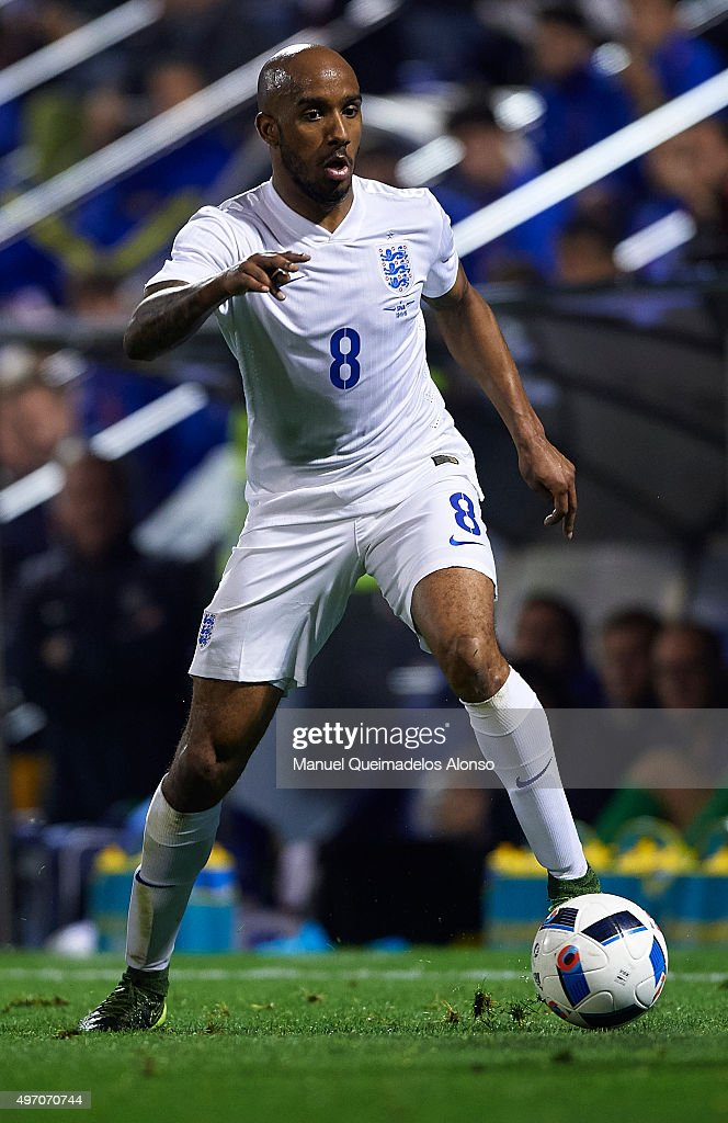 Fabian Delph of England runs with the ball during the international friendly match between Spain and England at Jose Rico Perez Stadium on November 13, 2015 in Alicante, Spain.