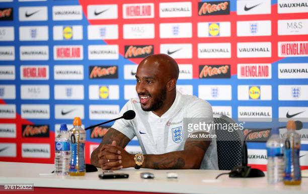 Fabian Delph of England talks to the media during the England Press Conference on June 16 2018 in Saint Petersburg Russia