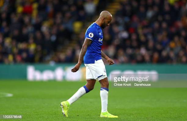 Fabian Delph of Everton walks off after being awarded a red card during the Premier League match between Watford FC and Everton FC at Vicarage Road...