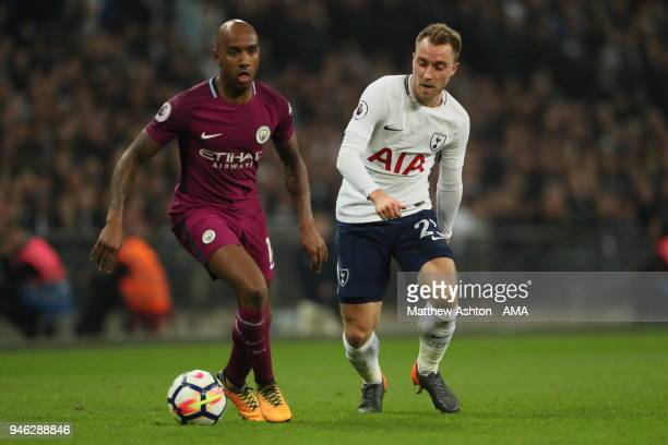 Fabian Delph of Manchester City and Christian Eriksen of Tottenham during the Premier League match between Tottenham Hotspur and Manchester City at...