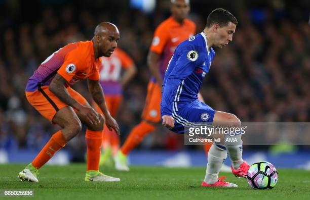 Fabian Delph of Manchester City and Eden Hazard of Chelsea during the Premier League match between Chelsea and Manchester City at Stamford Bridge on...