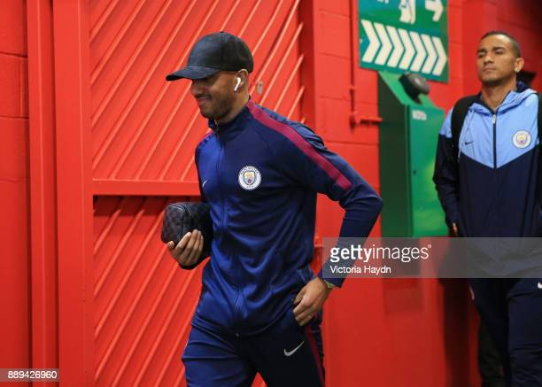 Fabian Delph of Manchester City arrives for the Premier League match between Manchester United and Manchester City at Old Trafford on December 10...