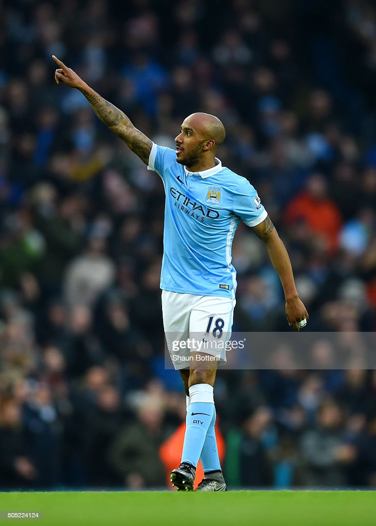 Fabian Delph of Manchester City celebrates after scoring the opening goal during the Barclays Premier League match between Manchester City and Crystal Palace at Etihad Stadium on January 16, 2016 in Manchester, England.