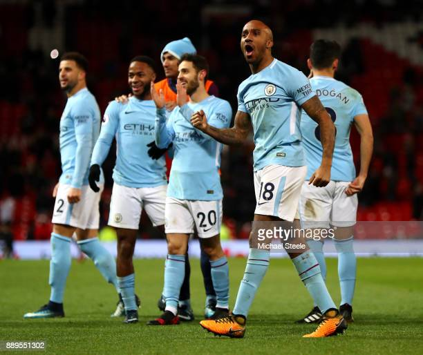 Fabian Delph of Manchester City celebrates after the Premier League match between Manchester United and Manchester City at Old Trafford on December...