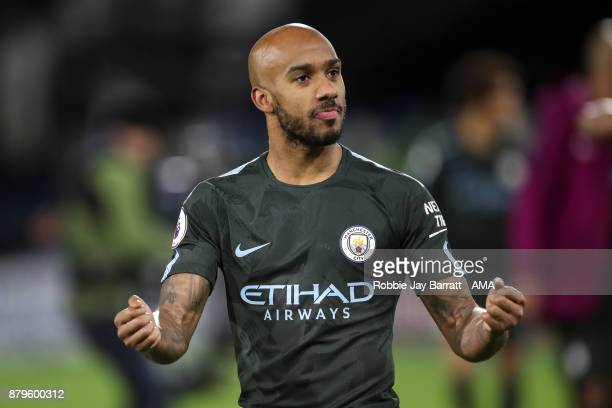 Fabian Delph of Manchester City celebrates during the Premier League match between Huddersfield Town and Manchester City at John Smith's Stadium on...