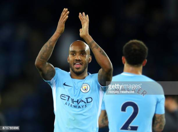Fabian Delph of Manchester City celebrates his side's 20 victory in the Premier League match between Leicester City and Manchester City at The King...