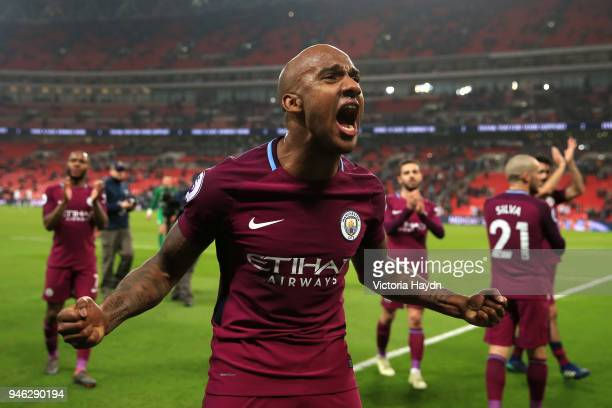 Fabian Delph of Manchester City celebrates victory after the Premier League match between Tottenham Hotspur and Manchester City at Wembley Stadium on...