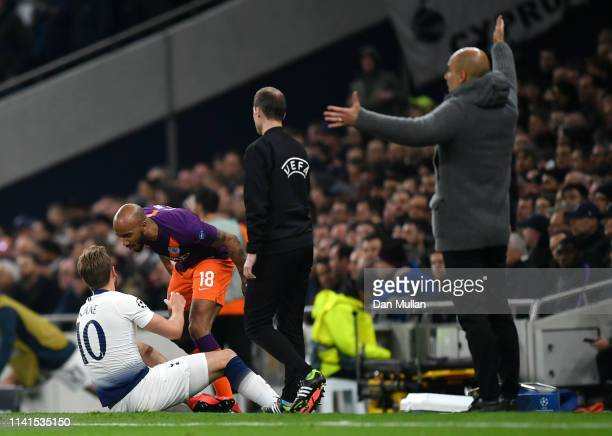 Fabian Delph of Manchester City clashes with Harry Kane of Tottenham Hotspur as he goes down injured during the UEFA Champions League Quarter Final...