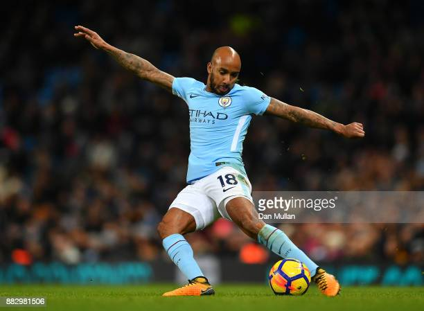 Fabian Delph of Manchester City controls the ball during the Premier League match between Manchester City and Southampton at Etihad Stadium on...