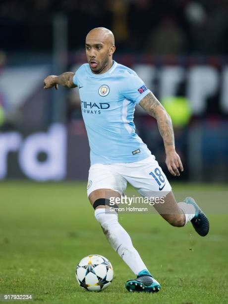 Fabian Delph of Manchester City controls the ball during the UEFA Champions League Round of 16 First Leg match between FC Basel and Manchester City...