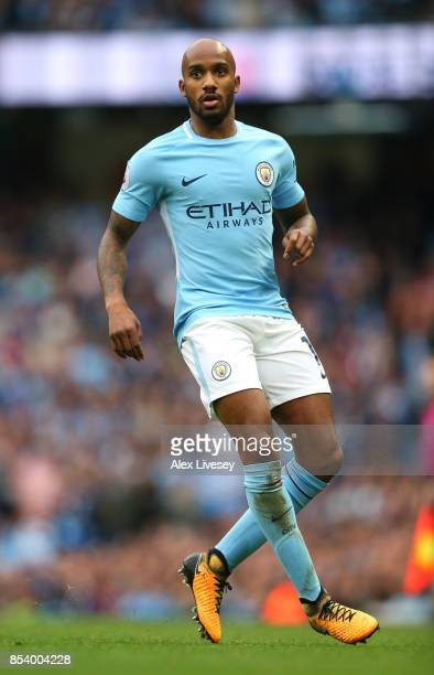 Fabian Delph of Manchester City during the Premier League match between Manchester City and Crystal Palace at Etihad Stadium on September 23 2017 in...