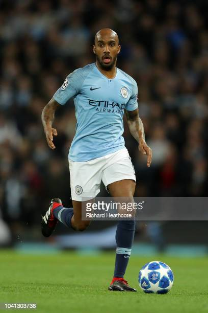 Fabian Delph of Manchester City in action during the Group F match of the UEFA Champions League between Manchester City and Olympique Lyonnais at...