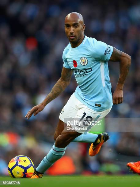 Fabian Delph of Manchester City in action during the Premier League match between Manchester City and Arsenal at Etihad Stadium on November 5 2017 in...