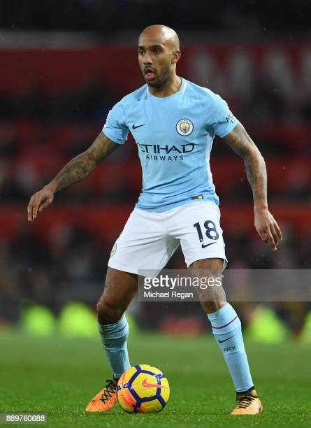 Fabian Delph of Manchester City in action during the Premier League match between Manchester United and Manchester City at Old Trafford on December...